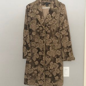 Arden B trench pea knee length coat gold brown S